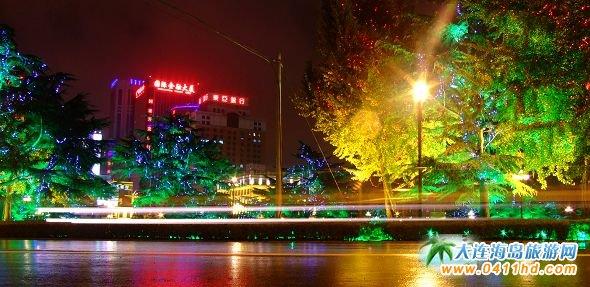 青岛市街道夜景图片